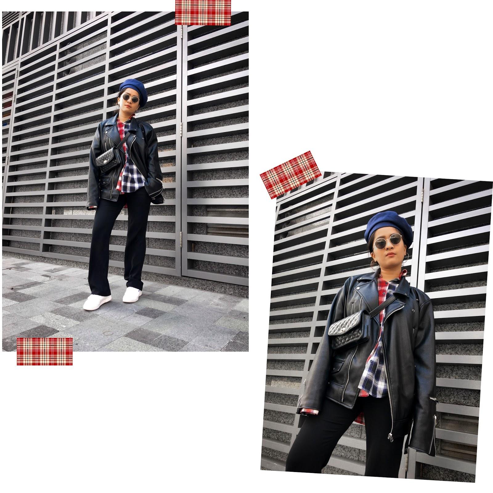 macau fashion blogger wearing plaid outfits