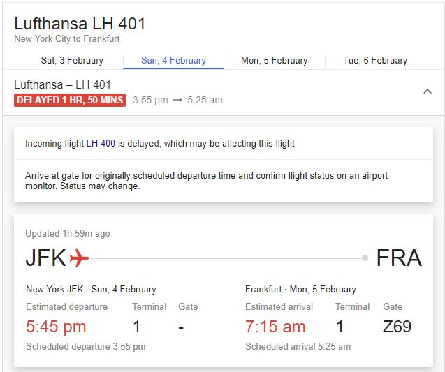 Google flight status using Artificial Intelligence