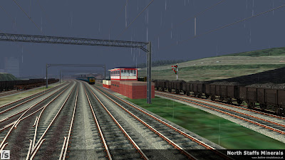 Fastline Simulation - North Staffs Minerals: A general view of Wolstanton Colliery Exchange Sidings and Grange Sidings as Class 86 86260 passes with a down express to Manchester Picadilly in North Staffs Minerals a route for RailWorks Train Simulator 2012.