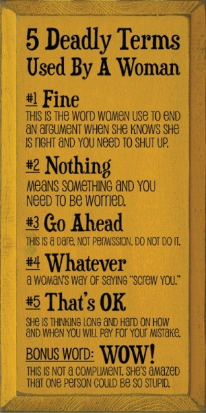 Funny 5 Deadly Woman Terms Sign