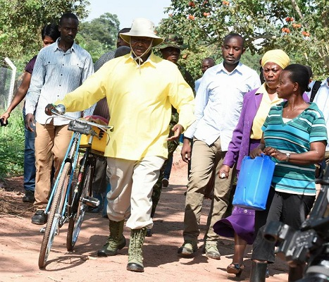 See Villagers Stun As Ugandan President Museveni Fetches Water On Bicycle; See More Photos