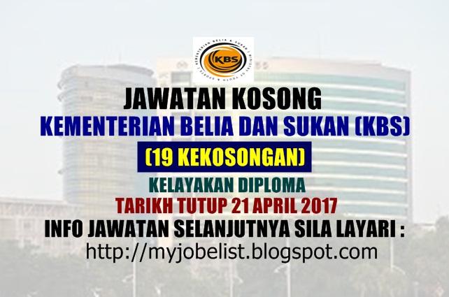 Jawatan Kosong di Kementerian Belia dan Sukan (KBS) April 2017