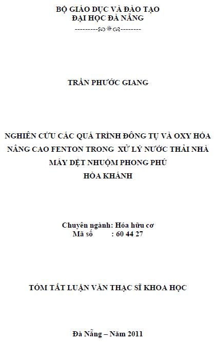 Nghiên cứu các quá trình đông tụ và oxy hóa nâng cao fenton trong xử lý nước thải nhà máy dệt nhuộm Phong Phú Hòa Khánh