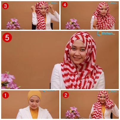 tutorial memakai pashmina simple