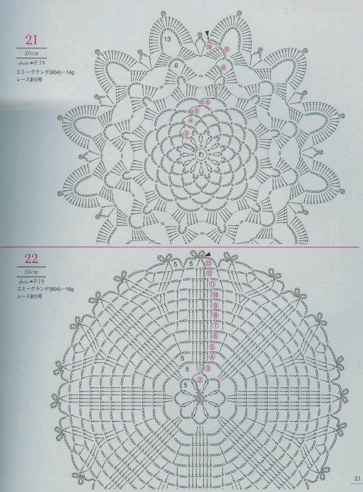 2 Motivos Florais de Crochê Com Gráfico Nº 7