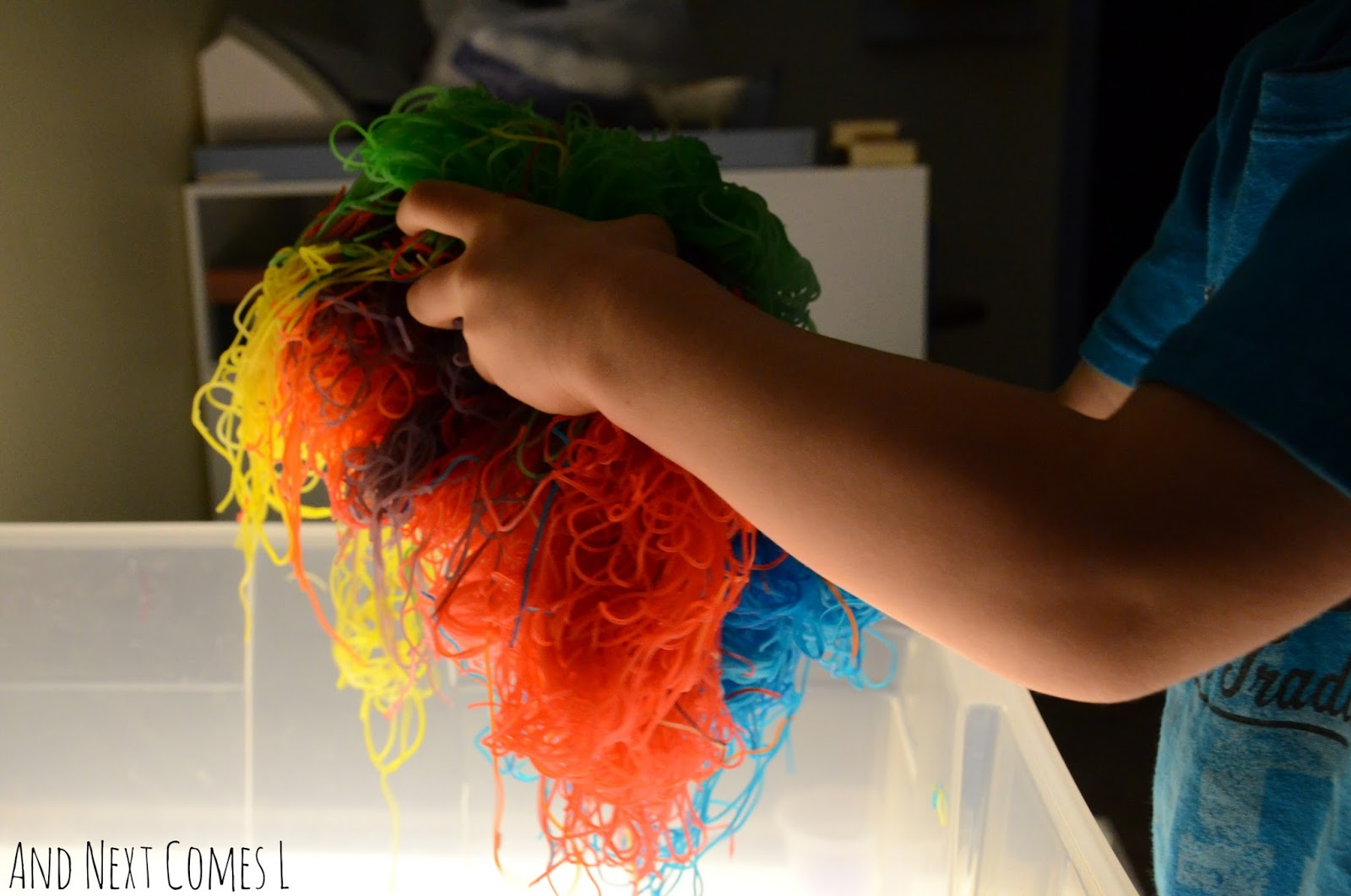 Close up of rainbow rice noodles above the light table from And Next Comes L
