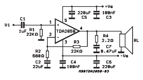 tda2050 subwoofer amplifier circuit