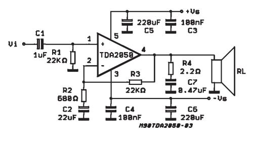 32w hi fi audio amplifier with tda2050