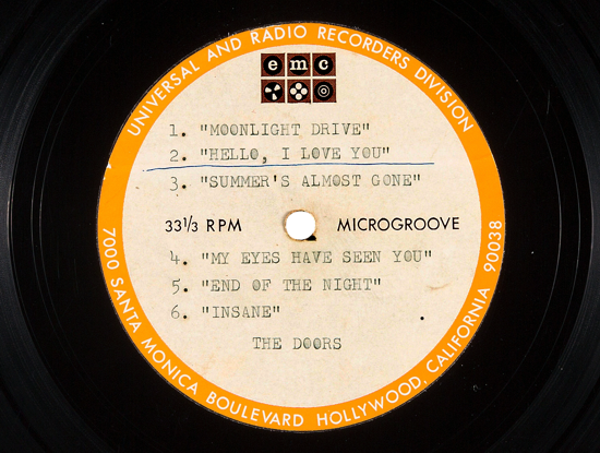 The Doors, six-songs demo acetate 1965, detail