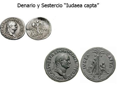 Denario y sestercio de Vespasiano Judea capta