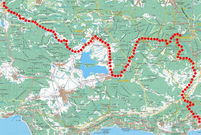 Карта маршрута Чернореченский каньон – каньон Узунджа – Чайный Домик – Беш-Текне – Симеиз