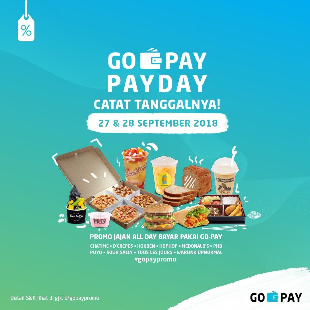 Gojek - Promo Pay Day Cashback 50% di Jajan All Day Pakai GOPAY (s.d 28 Sept 2018)