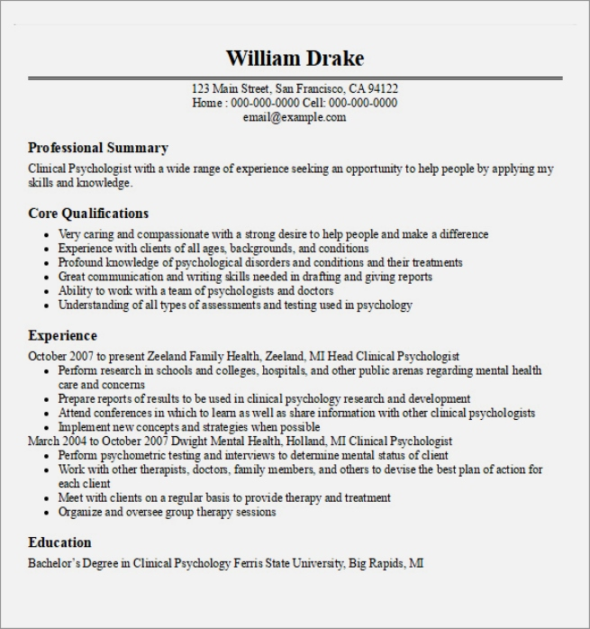 Ba Psychology Resume Sample Experience Resumes Sample Cv For Ca Internship  Internships Internship Search And Intern  Psychology Resume Examples