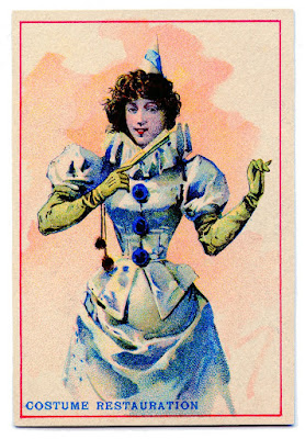 Postcard of a lady in a blue Pierrot costume, The Graphics Fairy