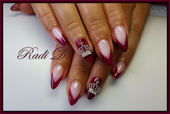 Its All About Nails Wine Red V French With Crown Nail Jewel
