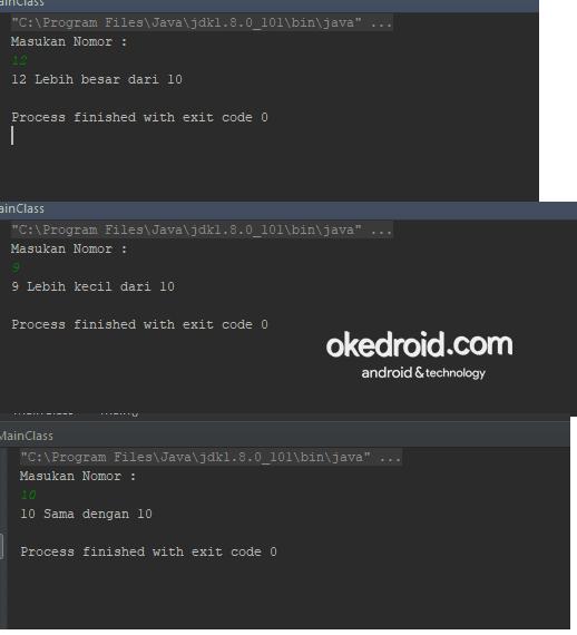 Output Hasil Contoh code program penggunaan kondisi if else if dan else java