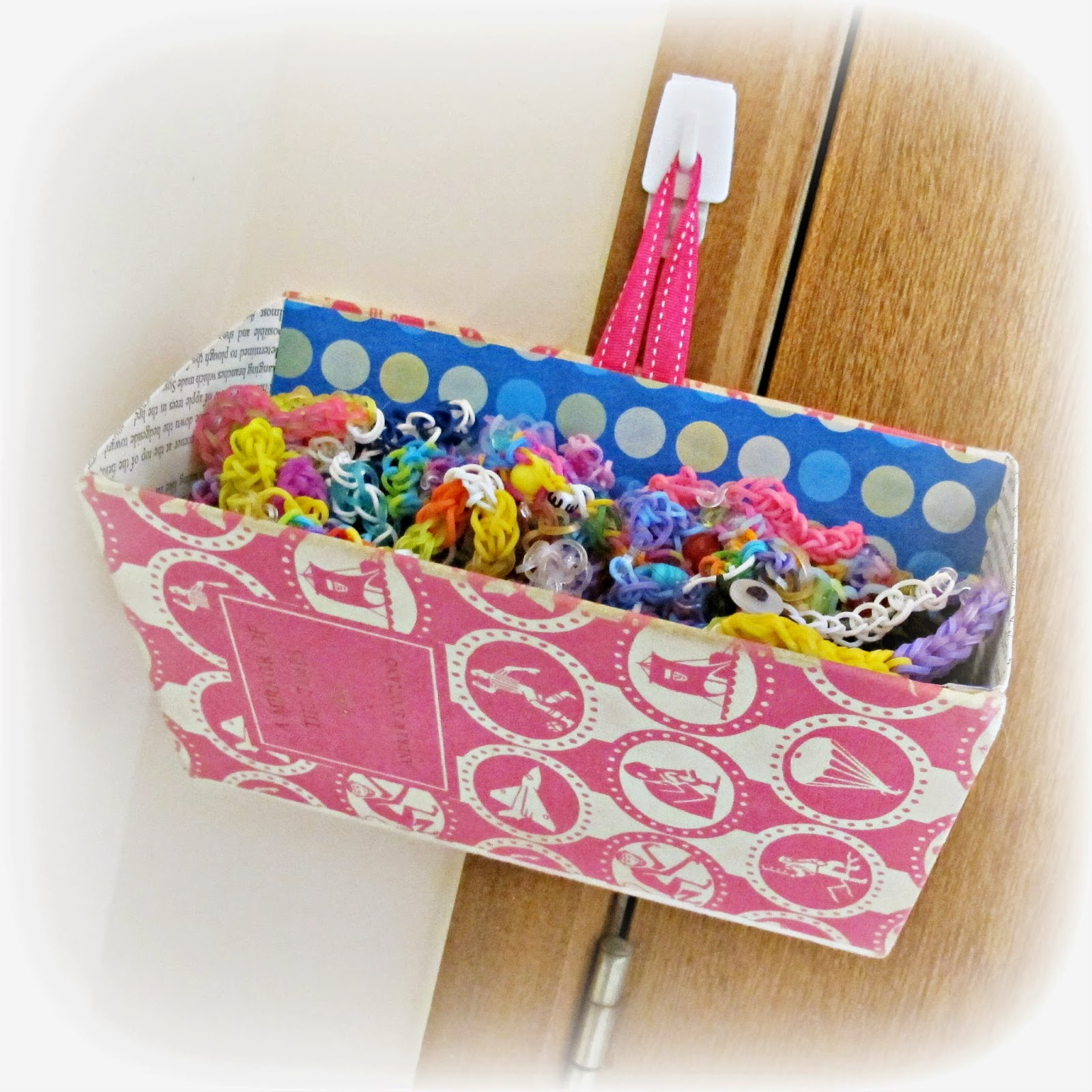 image wall pocket loom bands storage upcycled book caddy