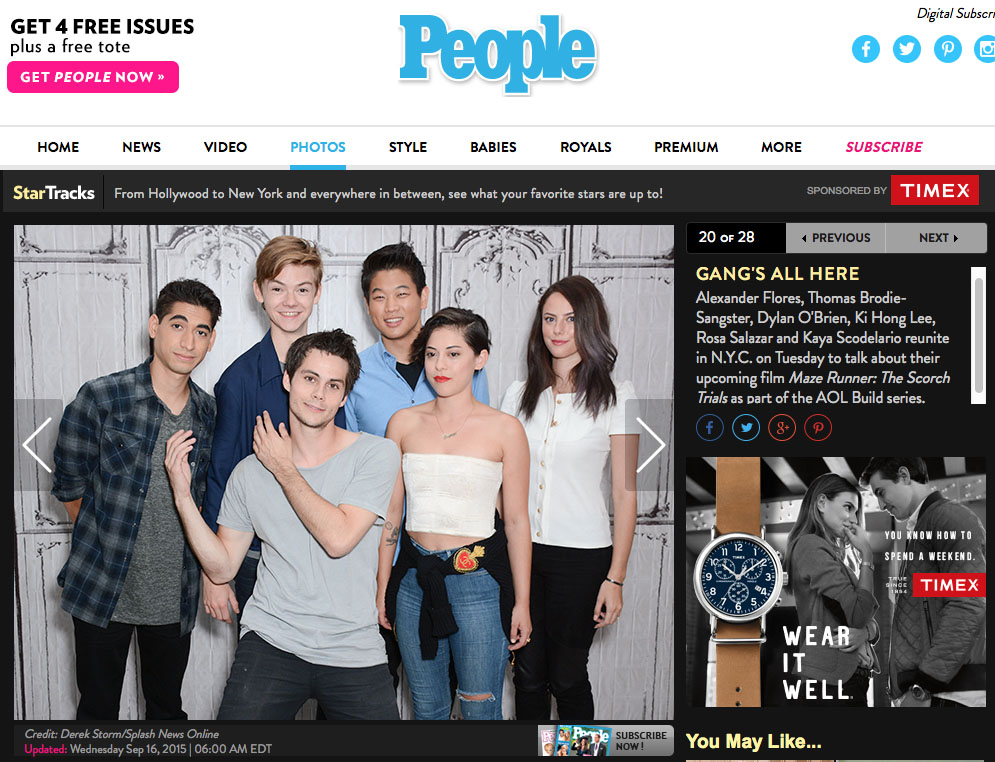 In the News: Maze Runner cast in People Magazine