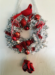 Hand Made Silver and Red Christmas Wreath made with vintage and new pieces