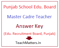 image : PSEB Master Cadre Teacher Answer Key @ TeachMatters