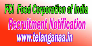 FCI (Food Corporation of India) Recruitment Notification 2016
