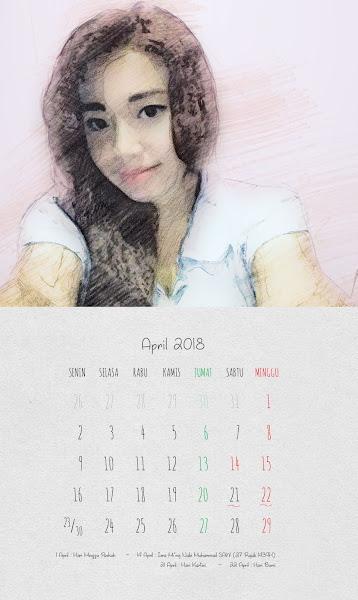 Desain Kalender Indonesia 2018 - April