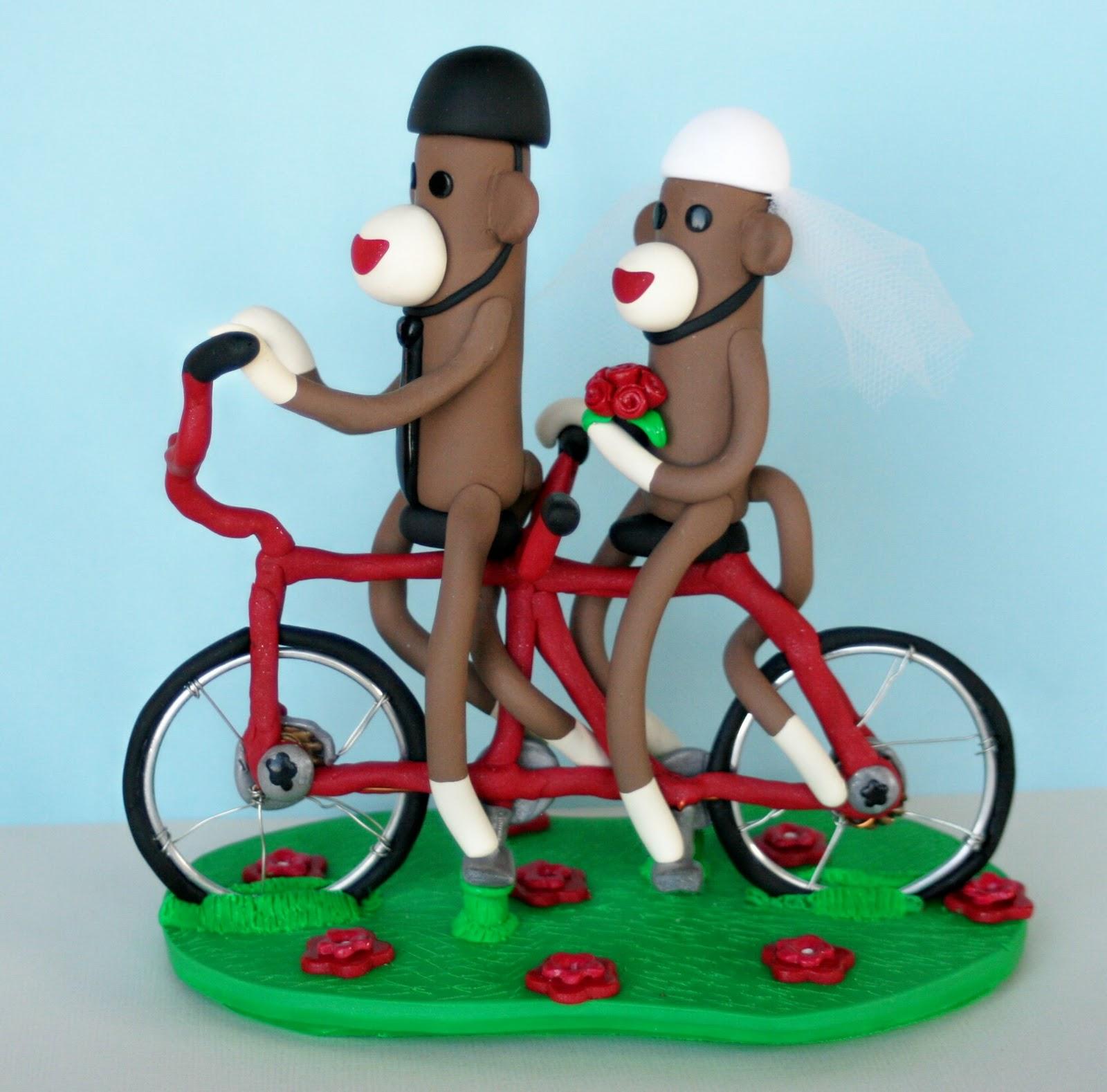 Sock Monkeys On A Tandem Bicycle Wedding Cake Topper