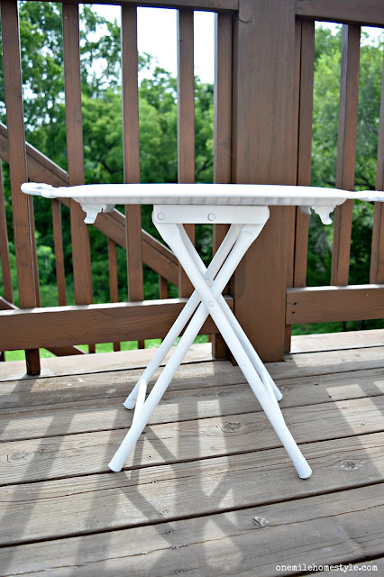 Thrift Store Decor: Turning a tray and a stool into a cute accent table - One Mile Home Style