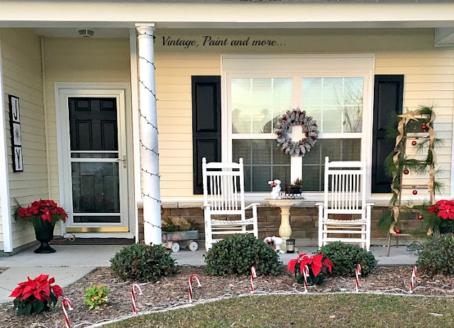 Vintage, Paint and more... Christmas porch done with vintage and recycled items