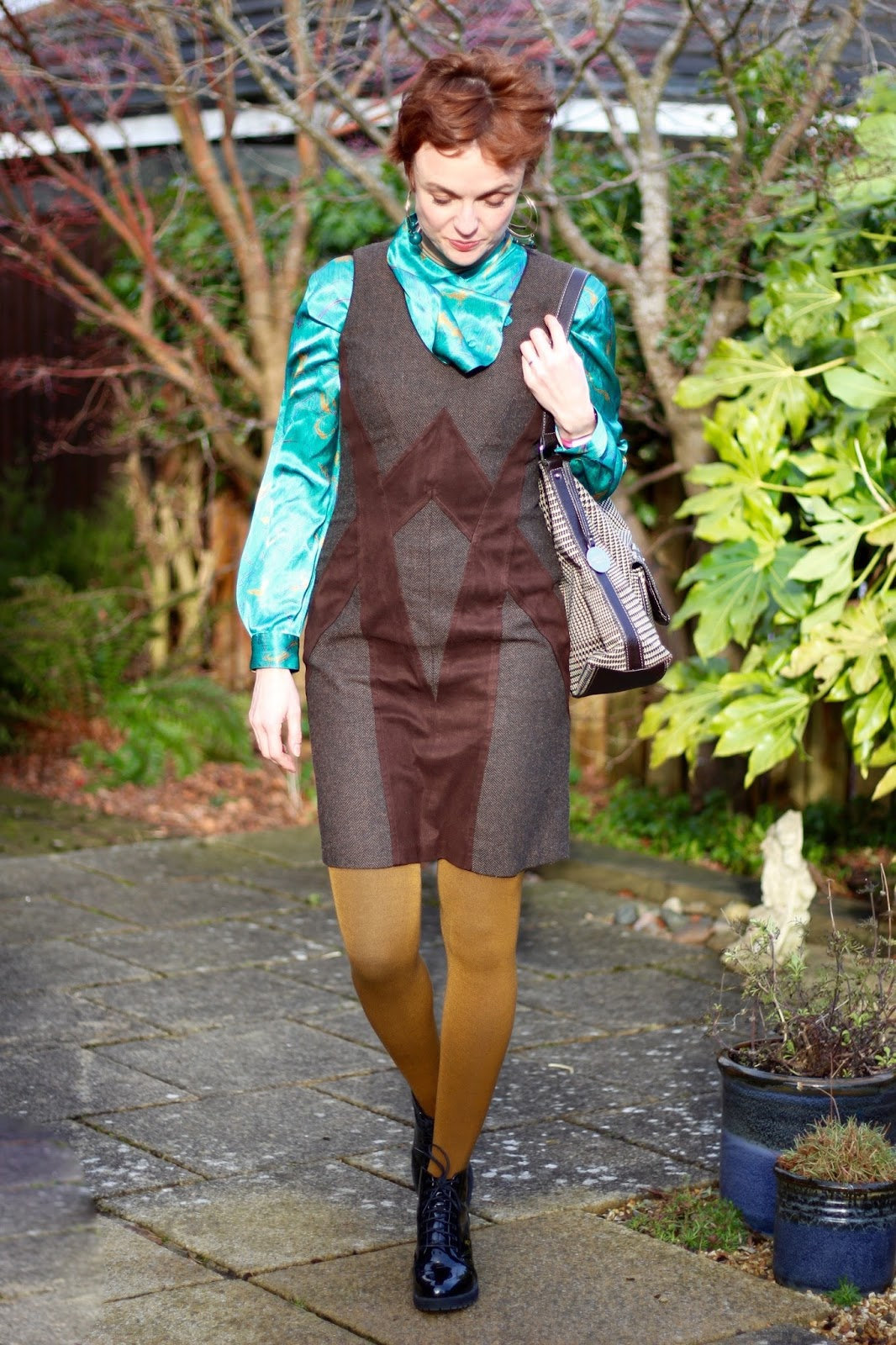 Tweed dress, vintage satin blouse, coloured tights & Chunky boots | Fake Fabulous