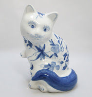 Blue and White Chinese Flowered Cat Figurine