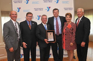 """""""RTA Jeff Roy, Hurley, Ross, Earley, Poirier, Barrows"""":  Pictured with State Representative and Franklin YMCA Red Triangle Award winner Jeff Roy (left center) are (from left to right) Hockomock Area YMCA President Ed Hurley, State Senator Richard Ross, Hockomock Area YMCA Board of Directors Chairman Brian Earley, and State Representatives Betty Poirier and Jay Barrows."""