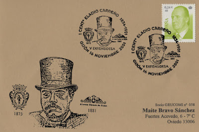 Tarjeta del matasellos de la 5ª EXFIENSIDESA en homenaje a Eladio Carreño Valdés