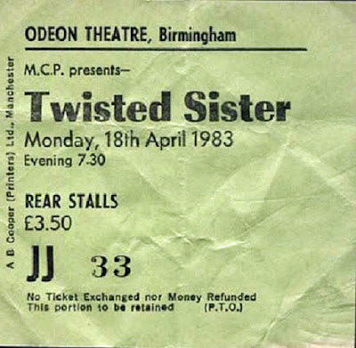 Twisted Sister ticket stub April 18, 1983... Odeon Theatre, Birmingham England