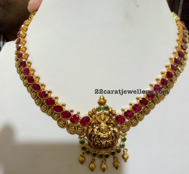 Short Kasu Necklace with Large Rubies