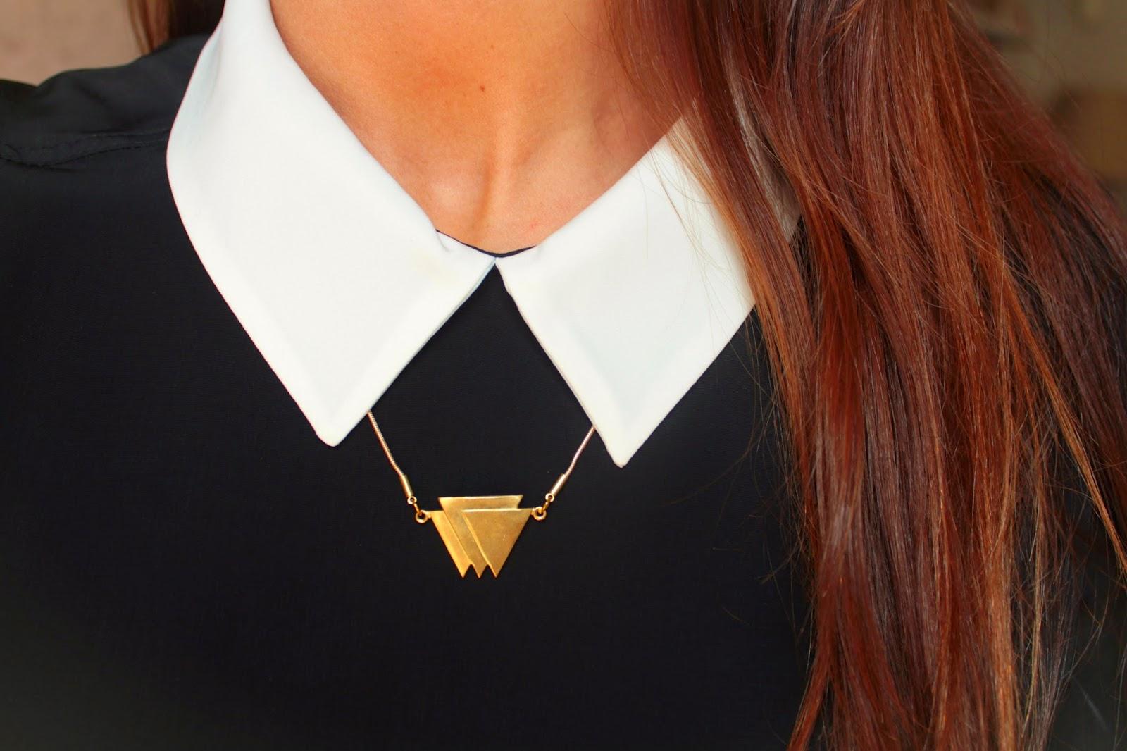 Collares triángulos latón dorado happy uky
