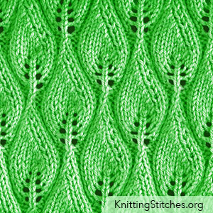 Candle Flame Lace Knitting Stitch. The instructions are written to work this pattern in the round