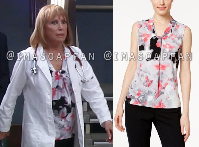 Monica Quartermaine, Leslie Charleson, Floral Twist Neck Top, Calvin Klein, General Hospital, GH