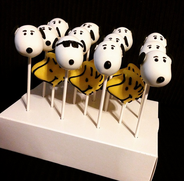Snoopy and Woodstock cake pops all decked out by Shelly Poppins.