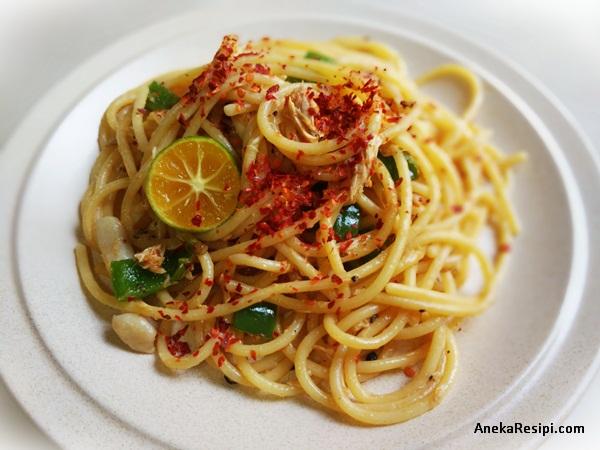 spaghetti tuna lada hitam mudah simple dan sedap