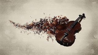 """""""Ποταμός"""" από νότες δίπλα σε βιολί."""