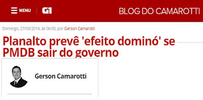 Planalto prevê 'efeito dominó' se PMDB sair do governo, por Gerson Camarotti