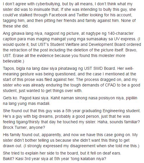 Netizen's Sister Molested by UST Student During Ride Home, What The School Admin Did Made Netizens Angry!