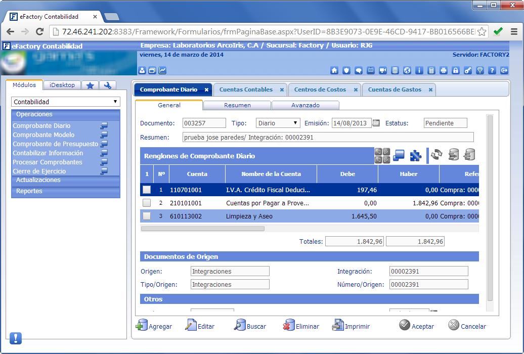 eFactory Contabilidad Web - Productos Web de eFactory: ERP/CRM, Nómina, Contabilidad, Punto de Venta, Productos para Móviles y Tabletas