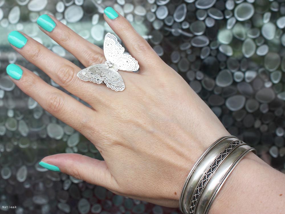 bague papillon et bracelet jonc argent Kiko  Mint Green 422