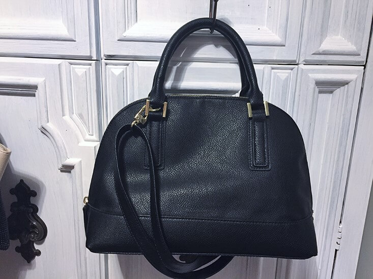 sears covington black leather handbag