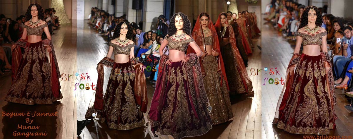 Regal Walk of Begum-E-Jannat Kangana Ranaut in Manav Gangwani at India Couture Week 2016
