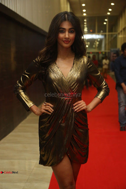 Pooja Hegde looks glamarous in deep neck sleevless short tight golden gown at Duvvada Jagannadham thank you meet function 010.JPG