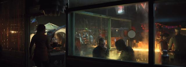 numerosos puestos entre ellos el restaurante con paredes de ristal sin techo, se ve la cocina en medio del local, escena nocturna, las camareras van vestidas con ropa china