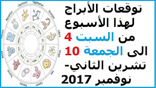 توقعات الأبراج لهذا الأسبوع من السبت 4 الى الجمعة 10 تشرين الثاني- نوفمبر 2017